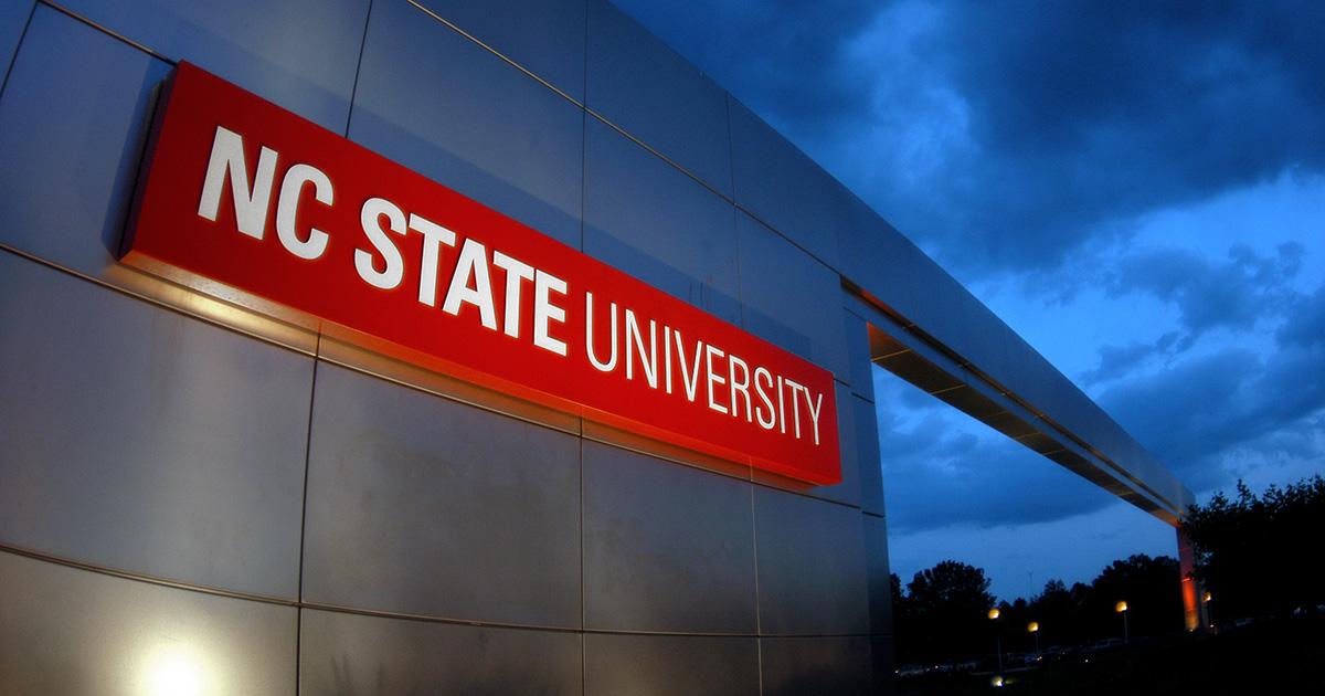 University gateway at sunset.